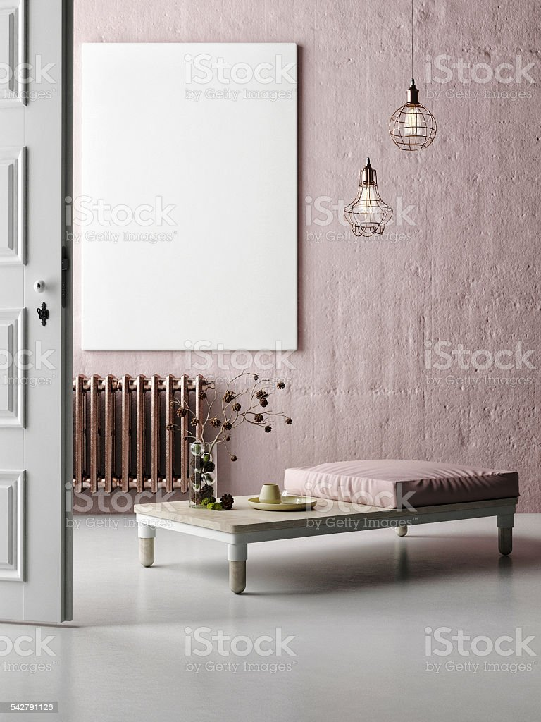 Concept of hall  interior with mock up poster stock photo