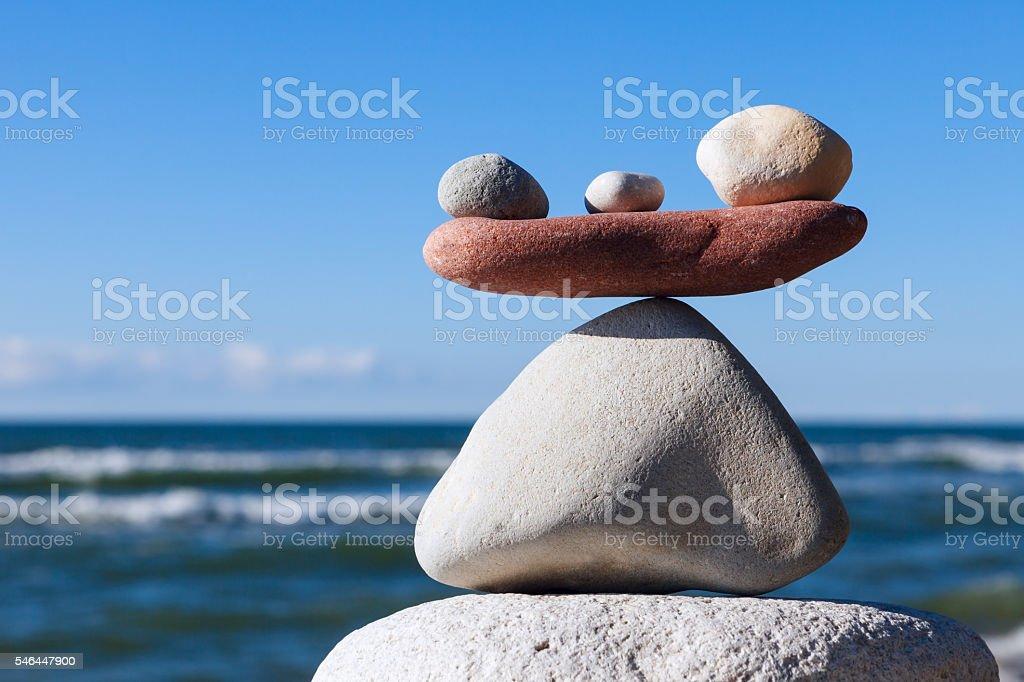 Concept of harmony and balance. Balance and poise stones. stock photo