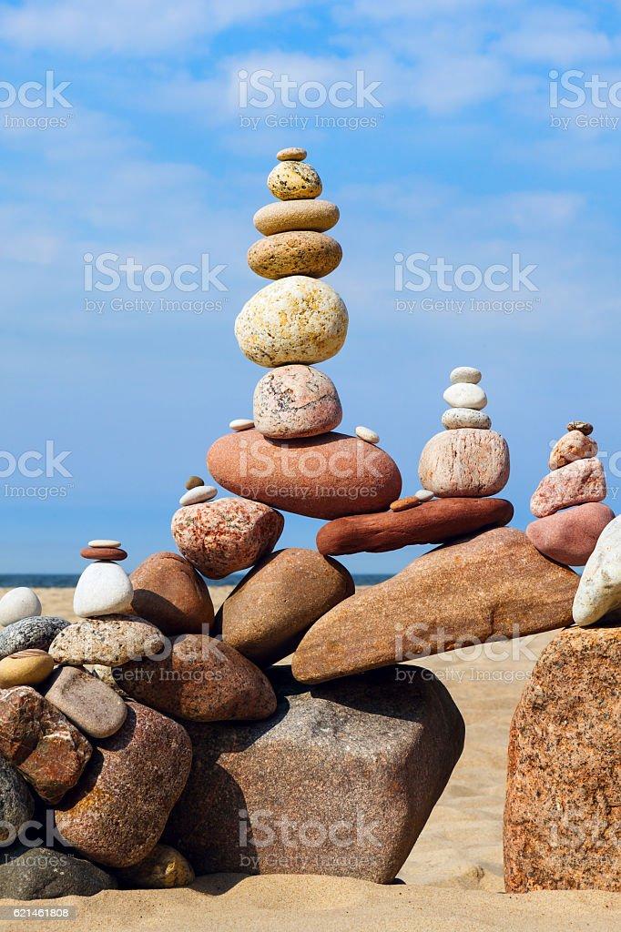 Concept of harmony and balance. Rock Zen on the beach stock photo