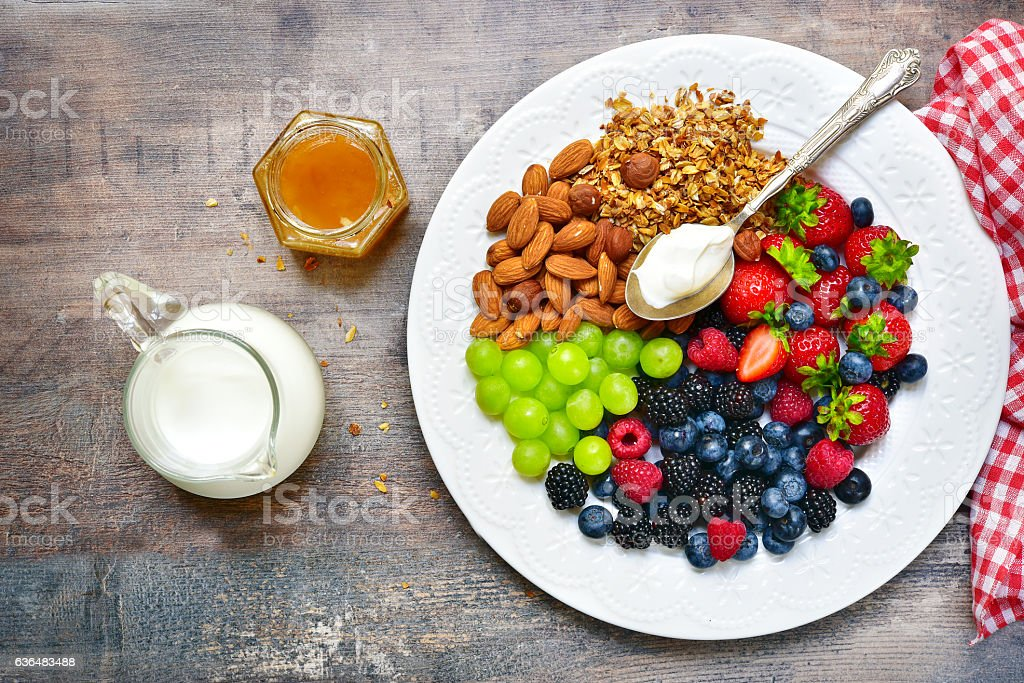 Concept of healthy breakfast stock photo
