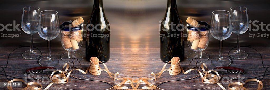 Concept of holidays, celebration and drinking wine stock photo