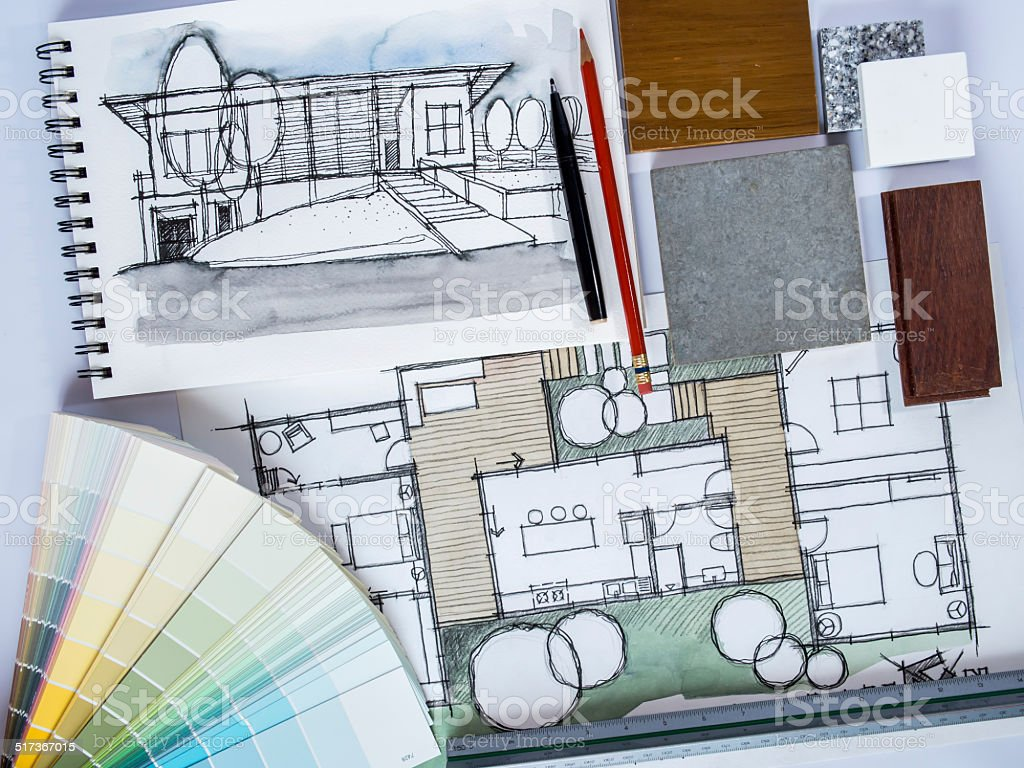 Concept of  home renovation with architecture drawing and material  sample vector art illustration