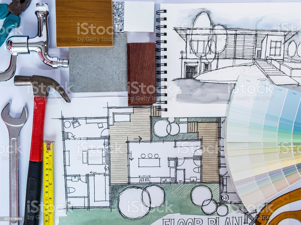 Concept of  home renovation with architecture drawing and work tools vector art illustration