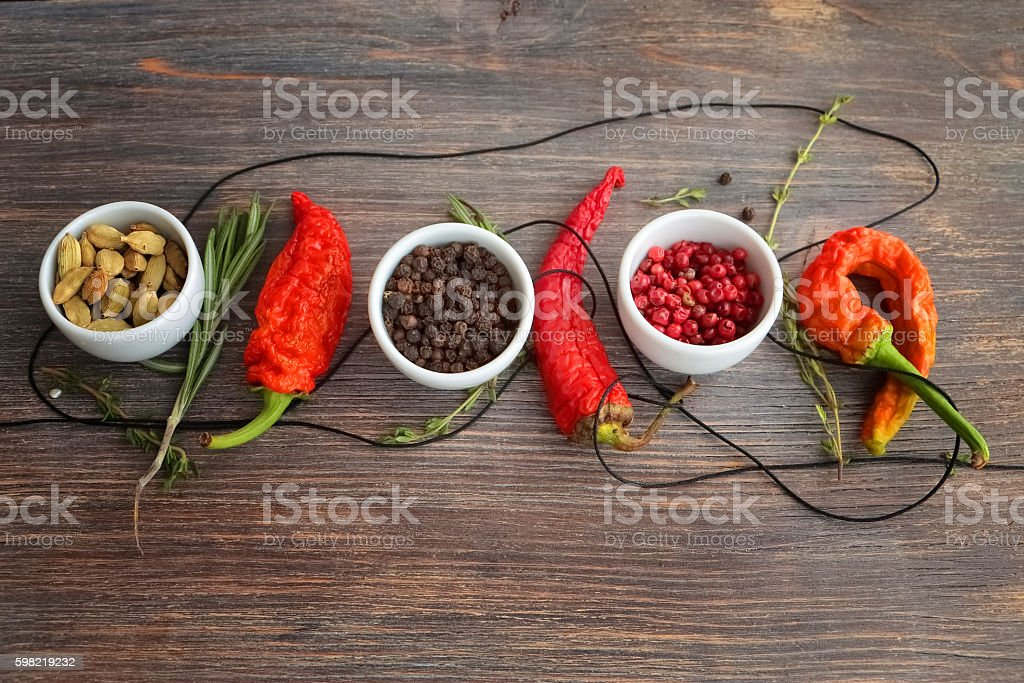 Concept of hot spice cuisine and seasoning stock photo