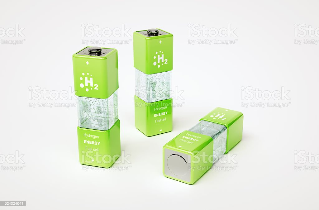 Concept of hydrogen fuel cell battery stock photo