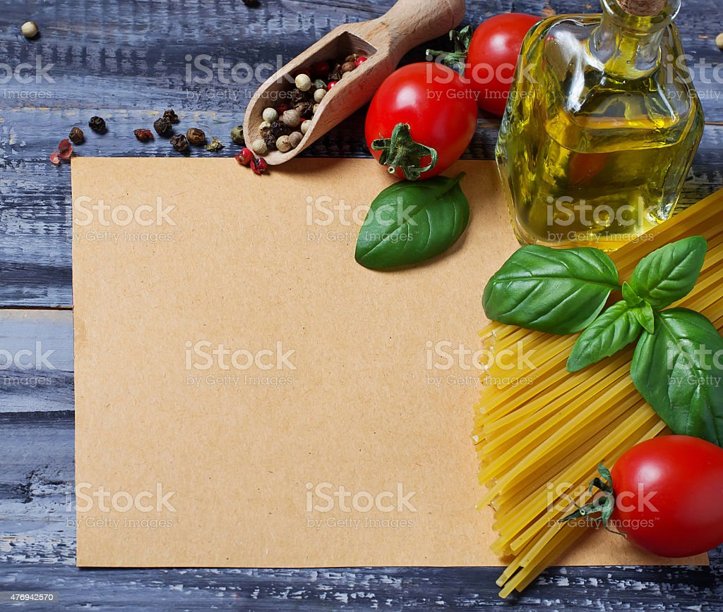 Concept of italian food with pasta, tomato, basil, olive oil stock photo