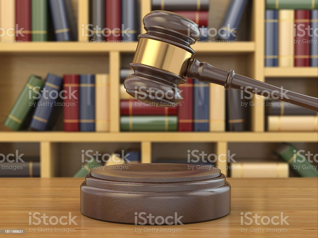 Concept of justice. Gavel and law books. royalty-free stock photo