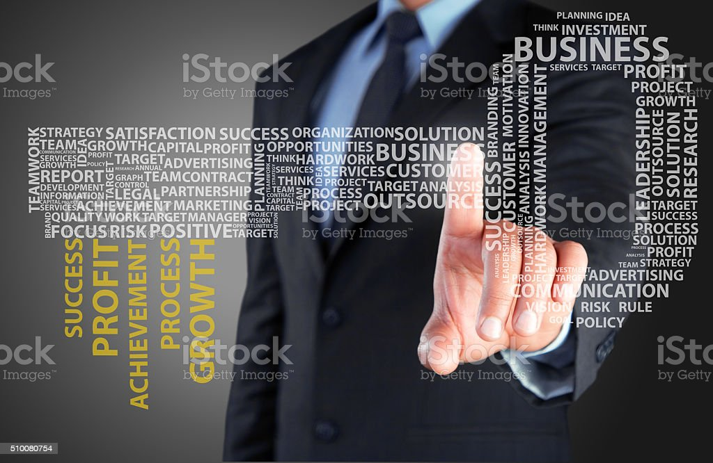 Concept of key to success on touch screen stock photo