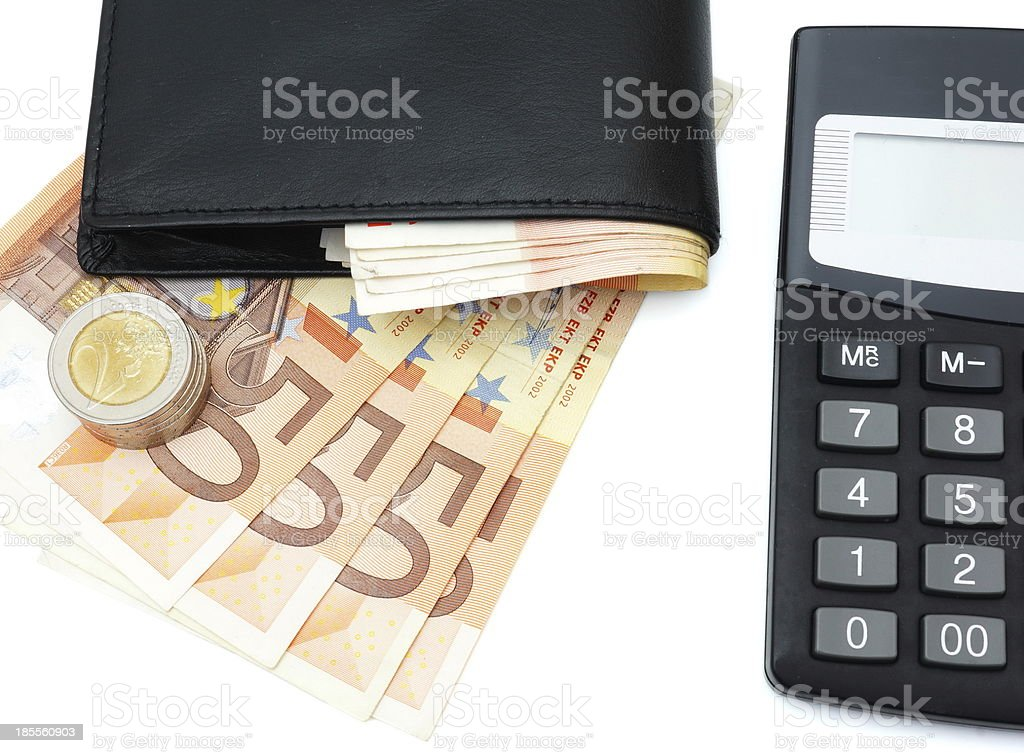 concept of making money with wallet,cash, calculator royalty-free stock photo