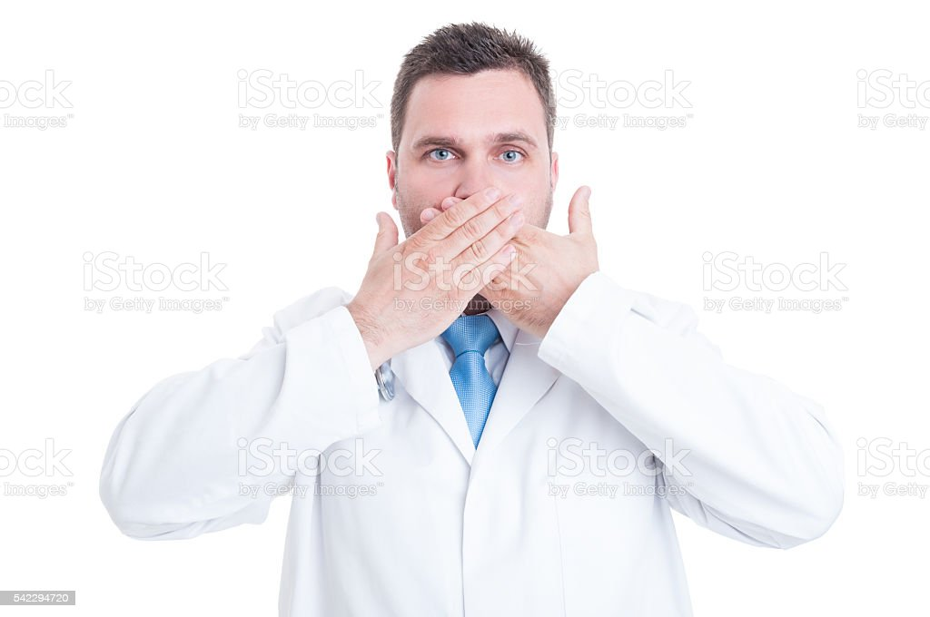 Concept of male medic or doctor making mute gesture stock photo