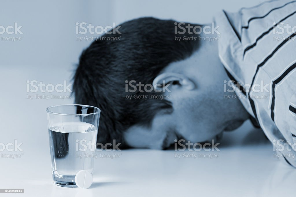 Concept of man with illness or headace royalty-free stock photo
