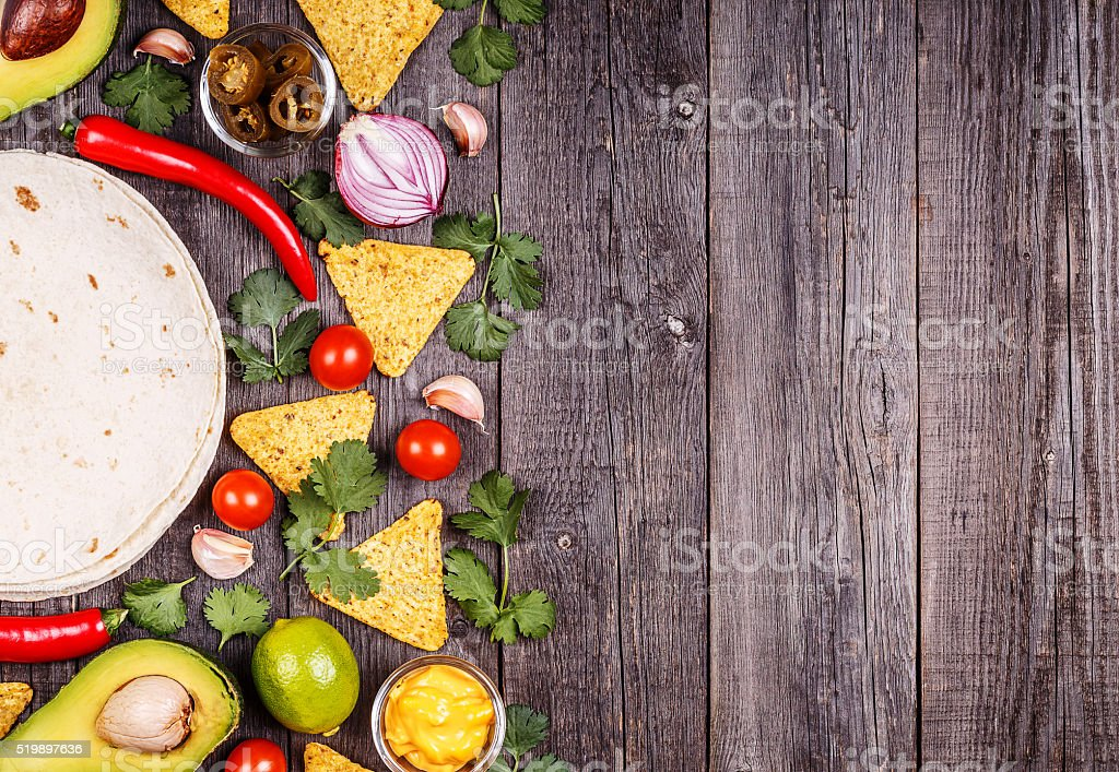 Concept of Mexican food, copy space. stock photo