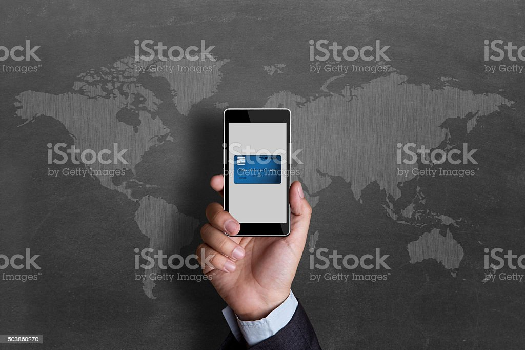 Concept of mobile banking stock photo