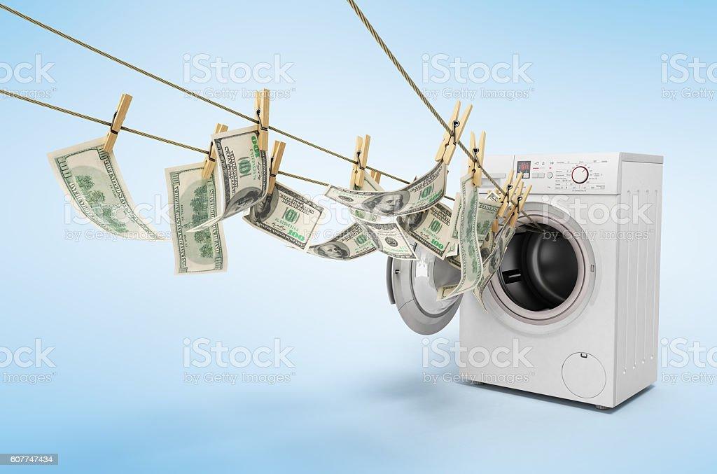 concept of money laundering dollar money bills on roupe stock photo