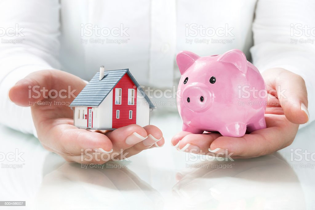 concept of mortgage and savings stock photo