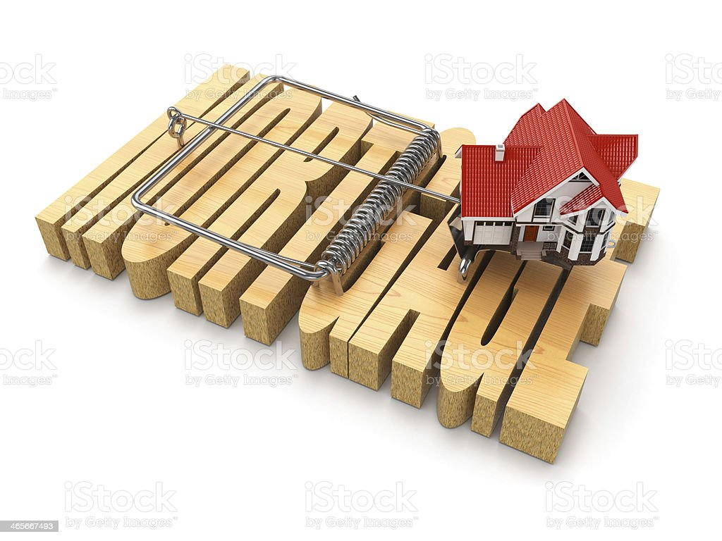 Concept of mortgage. House and mousetrap. royalty-free stock photo