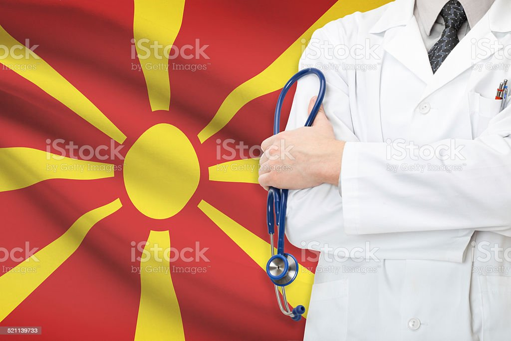 Concept of national healthcare system - Republic of Macedonia stock photo