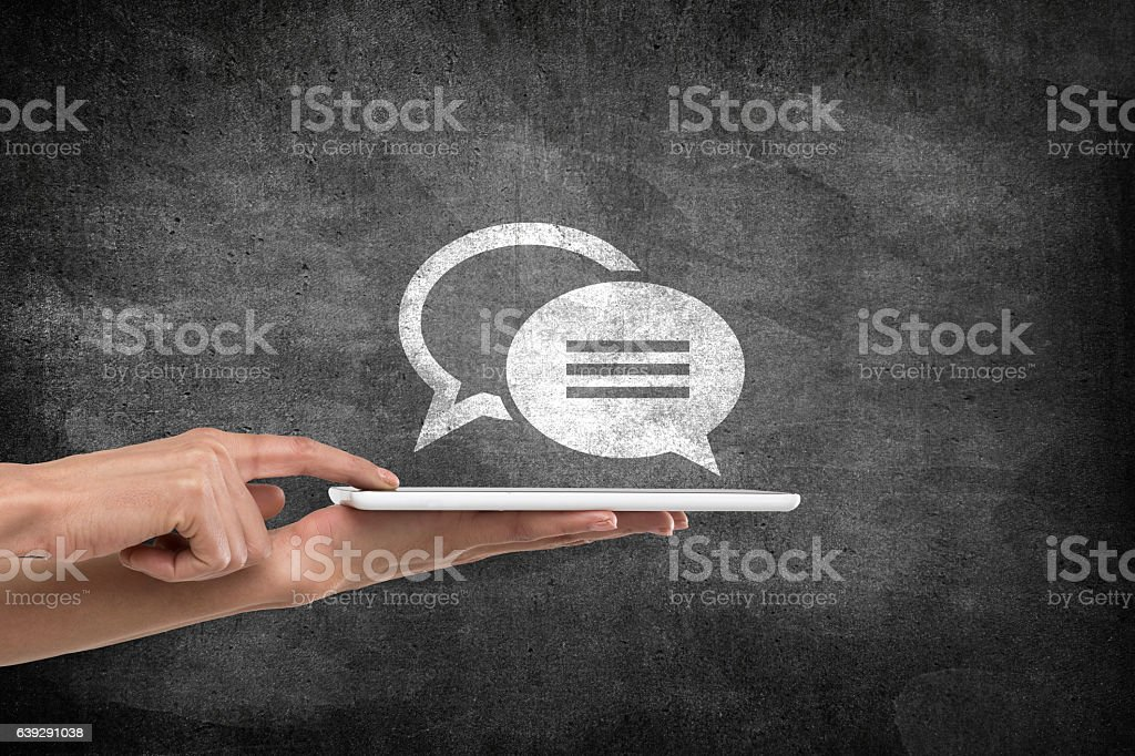 Concept of online communication stock photo