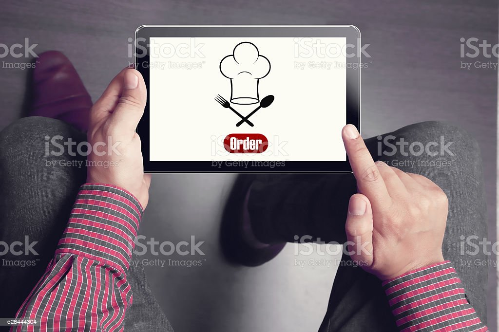 Concept of online food ordering stock photo