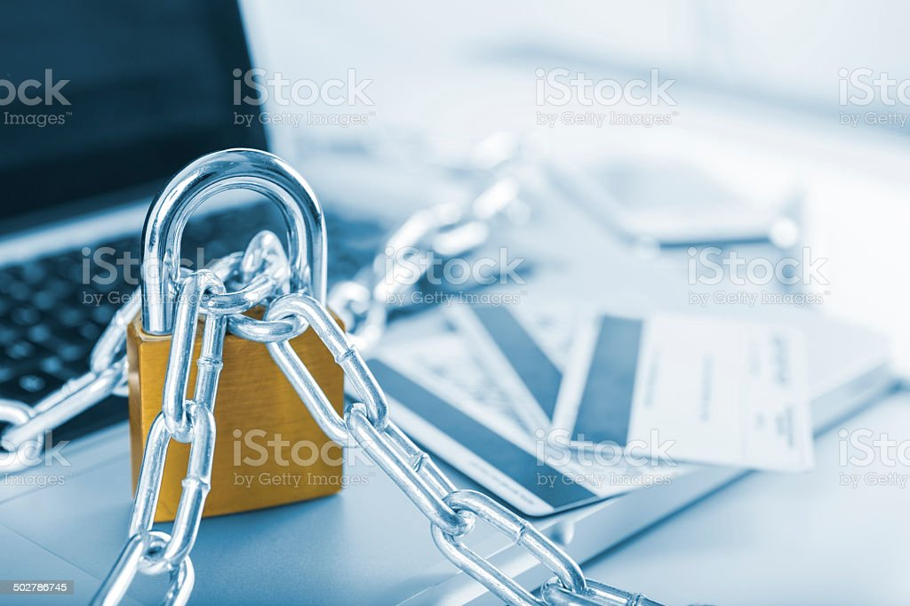 Concept of online security banking with padlock on computer stock photo