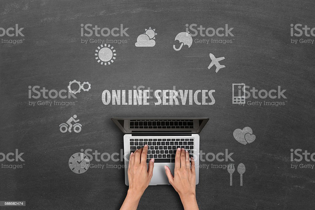 Concept of online services stock photo