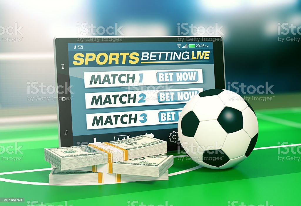 concept of online sport bets stock photo