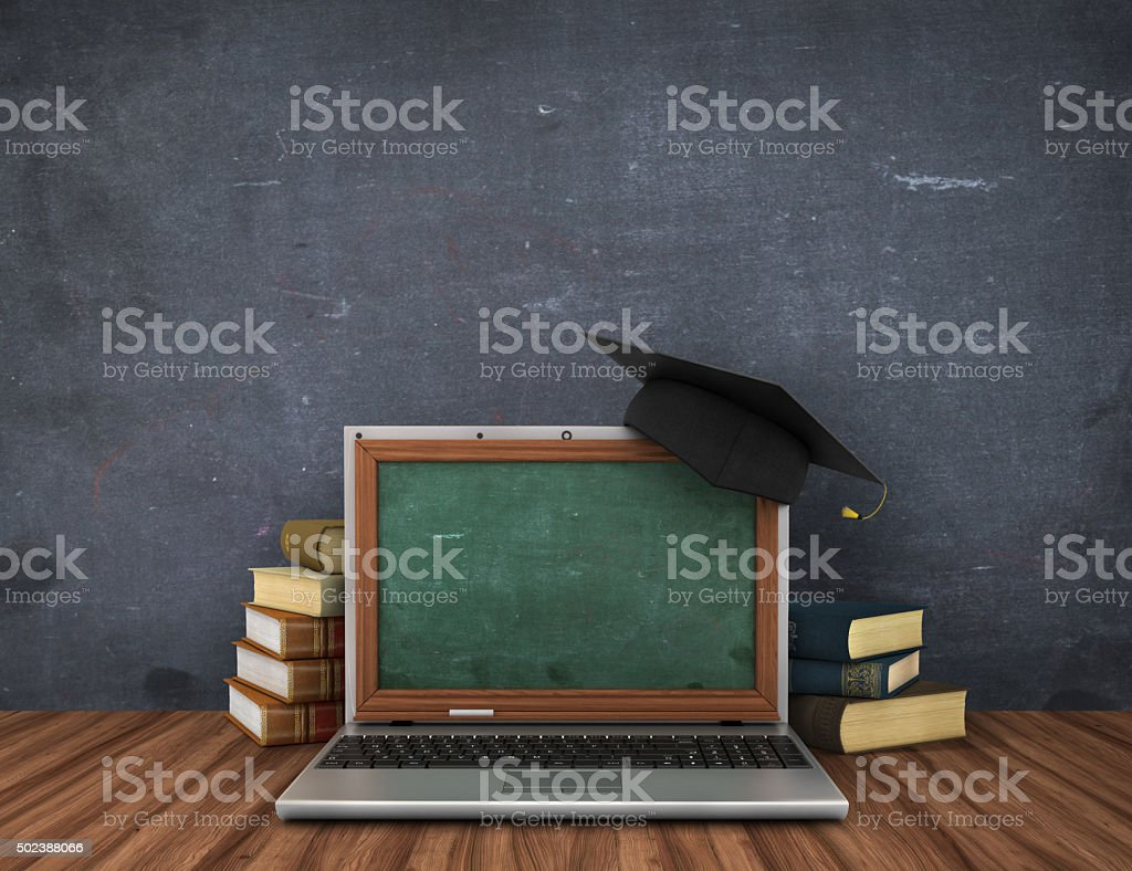 Concept of online studying or webinar. stock photo