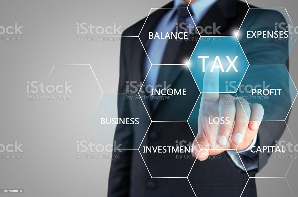 Concept of online taxation on touch screen stock photo