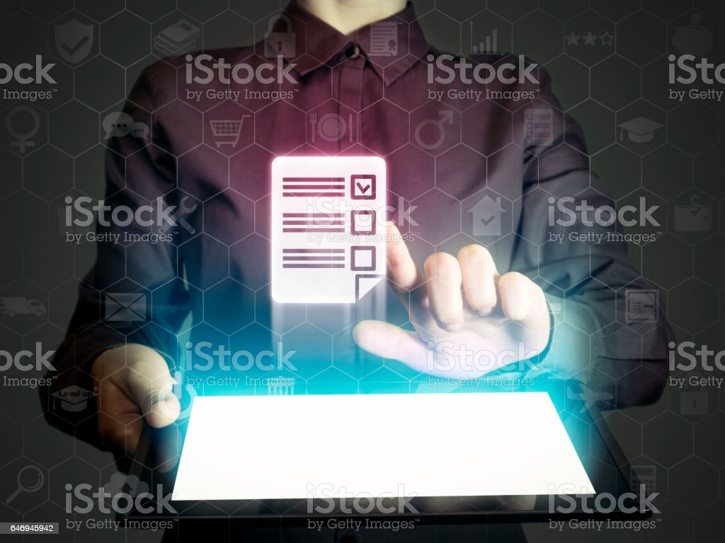 Concept of online testing stock photo
