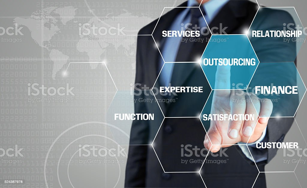 Concept of Outsourcing strategy on touch screen stock photo