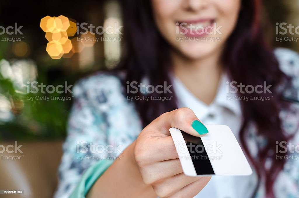Concept of paying by credit card. stock photo