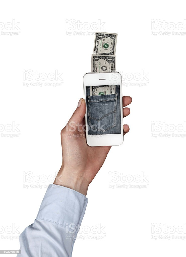 Concept of paying your phone stock photo