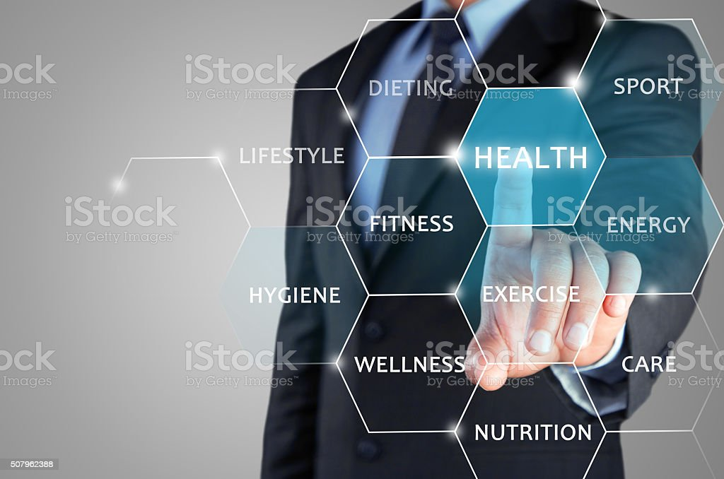 Concept of physical fitness on touch screen stock photo
