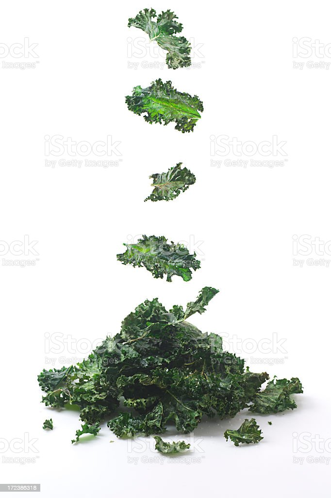 Concept of pile of fresh green kale chips stock photo