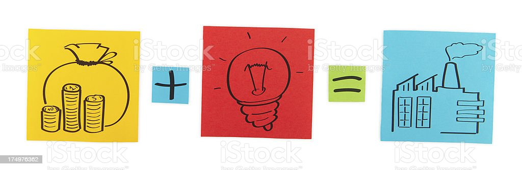 Concept of production start-up. Colored paper sheets. royalty-free stock photo