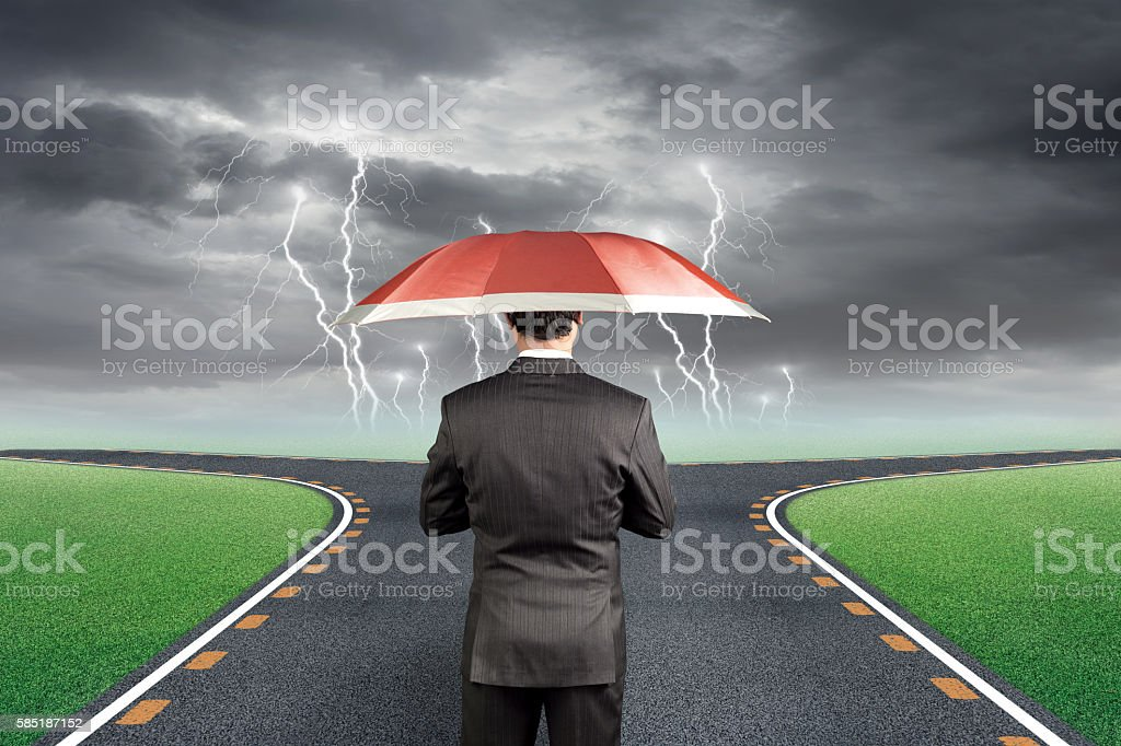 Concept of protection during unfavorable condition stock photo