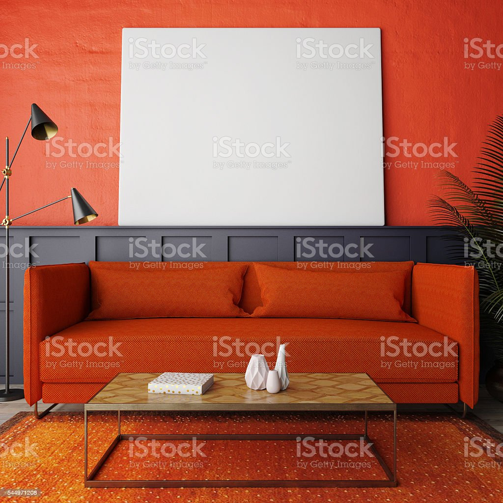 Concept of red living room, mock up poste stock photo