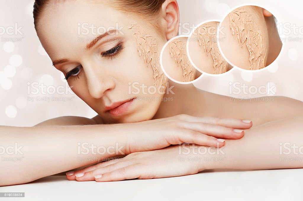 concept of rejuvenation and skin care. face of beautiful girl stock photo