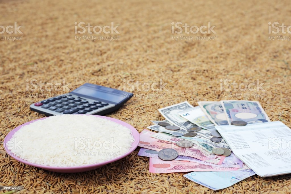 concept of rice product trading background. stock photo