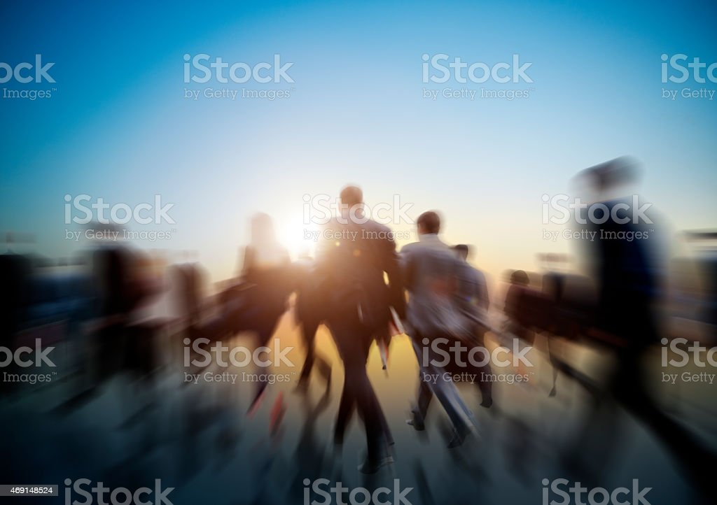 Concept of rushing businesspeople stock photo