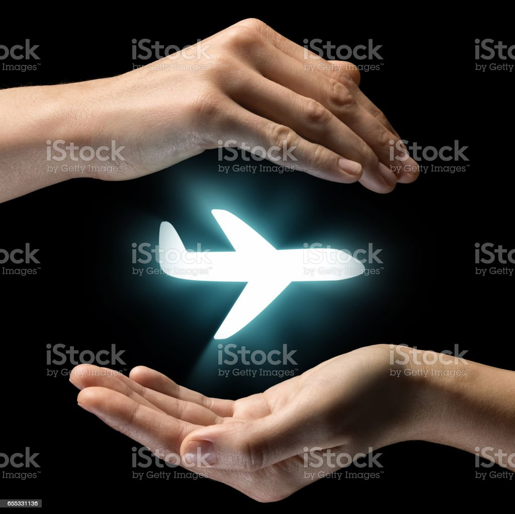 Concept of safety of flight, life insurance. stock photo