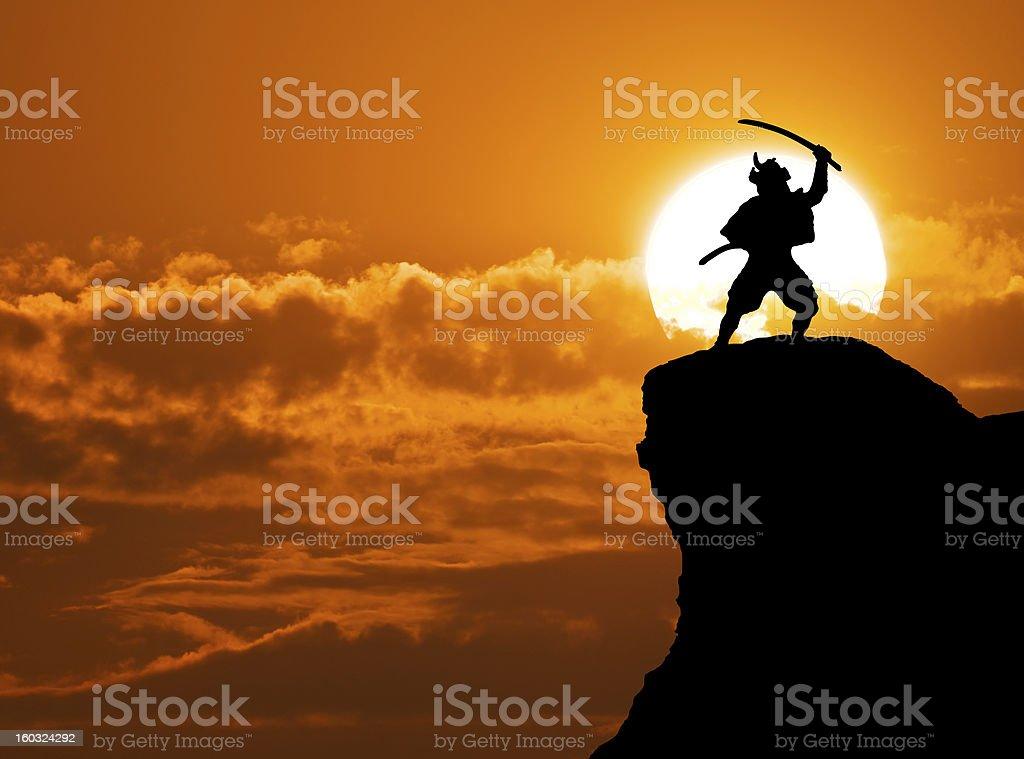 Concept of Samurai on top of mountain stock photo