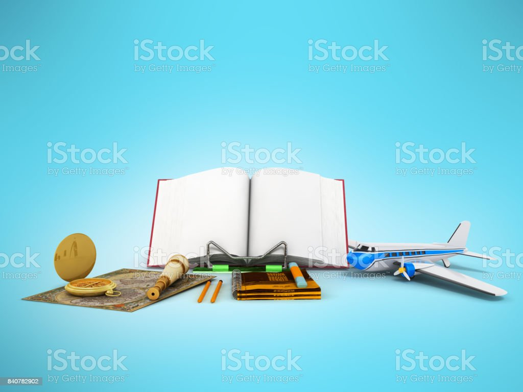 Concept of school and education biology microscope notebook 3d render on white background stock photo