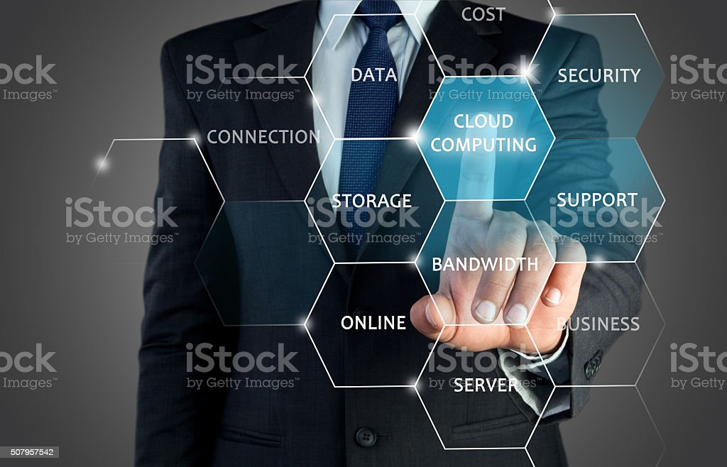 Concept of secure cloud computing on touch screen stock photo