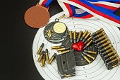 Concept of shooting competitions. Sport shooting.