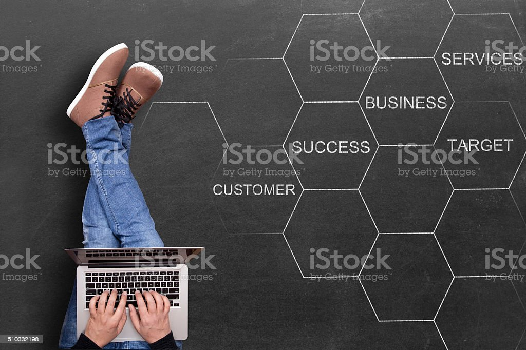 Concept of successful business strategy on blackboard stock photo