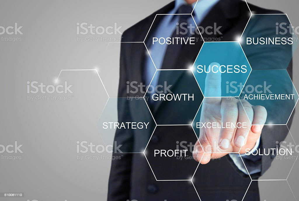 Concept of successful business strategy on touch screen stock photo