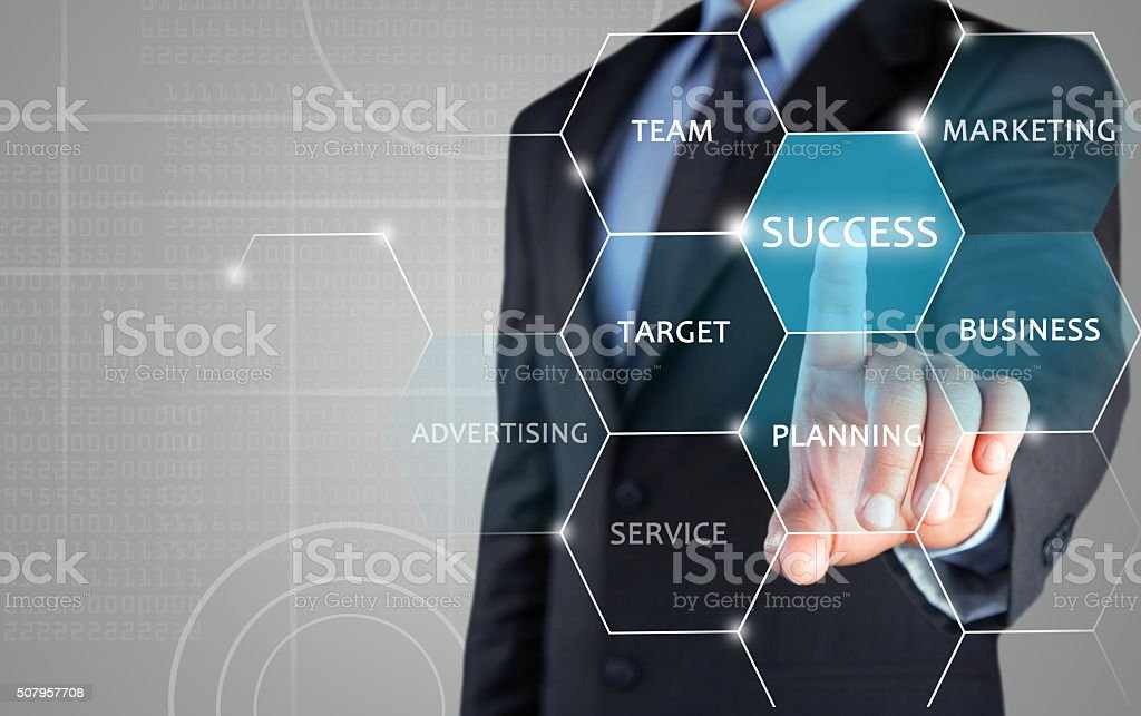 Concept of successful marketing strategy on touch screen stock photo