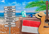 Concept of summer traveling with old suitcase and Indonesia town