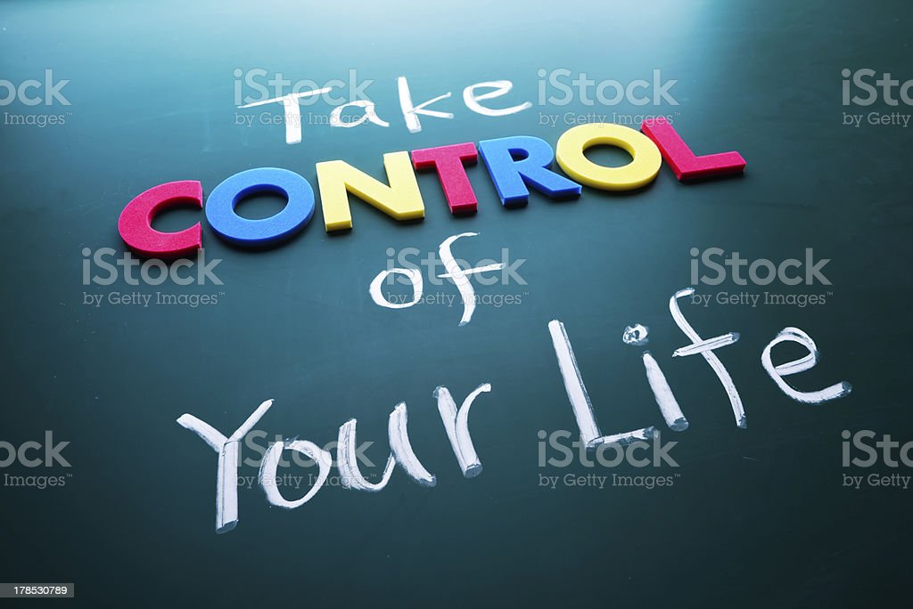 Concept of taking control of your life focusing on control stock photo